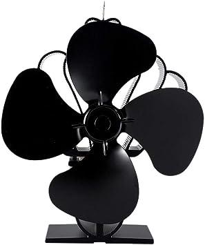 Desarrollado calor estufa de leña Ventilador Ventilador Negro ...