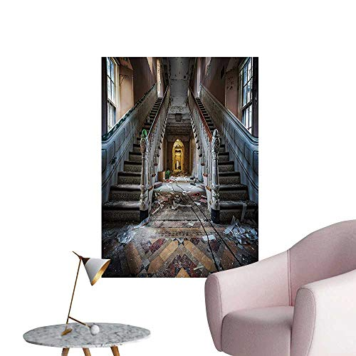 - Anzhutwelve Rustic Wallpaper Destroyed Main Entrance Hallway of Ravaged Opera House with Symmetric Stairs PhotoBrown Beige W24 xL32 Wall Poster
