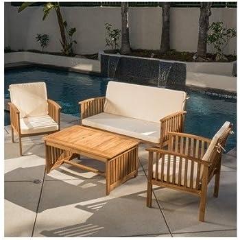 Carolina 4 piece outdoor acacia sofa set for Sofa exterior amazon