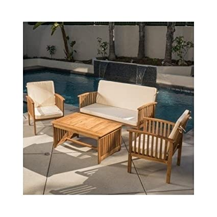 Amazon Com Carolina 4 Piece Outdoor Acacia Sofa Set Garden Outdoor