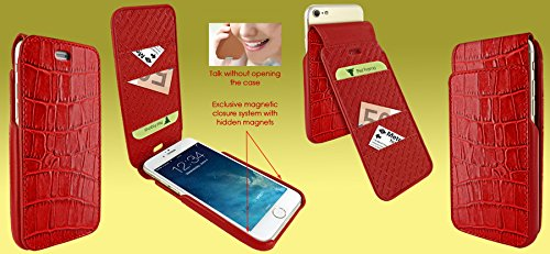 Piel Frama 760 Red Crocodile iMagnumCards Leather Case for Apple iPhone 7 / 8 by Piel Frama (Image #4)