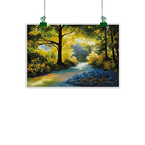 """Anzhutwelve Nature,Wall Art Decor Poster Painting Mother Nature Theme Oil Painting Style Forest Meadows and Trees Print Wall Art Kitchen Avocado Green Fern Green W 24"""" x L 16"""""""