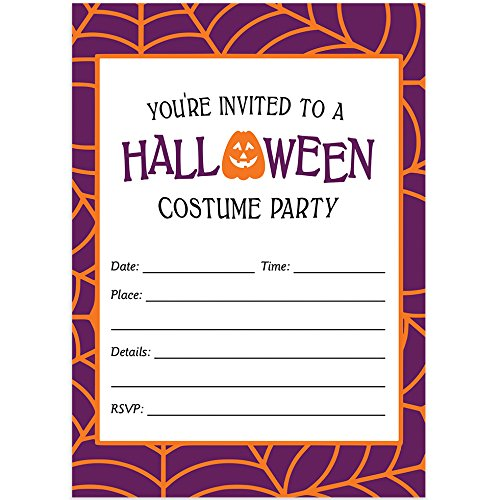 Halloween Costume Party Invites & Envelopes (Pack of 25) Fun Dress Up Party Large Blank 5x7