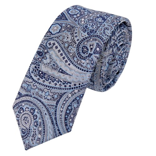 (PS1108 Blue Collection Slim Necktie Matching Present Box Set Patterned Cheap Skinny Tie Whole Sale for Designer By Epoint)