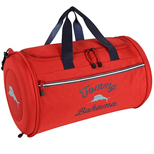 - Tommy Bahama Travel Carry Duffle Bag, Red/Navy/Light Blue