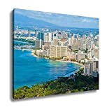 Ashley Canvas, Aerial View Of Waikiki Beach In Honolulu Hawaii, Home Decoration Office, Ready to Hang, 20x25, AG6402388