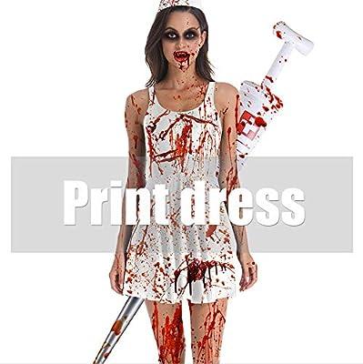 MISTYU Disfraz de Zombie Cosplay de Enfermera para Adultos de ...