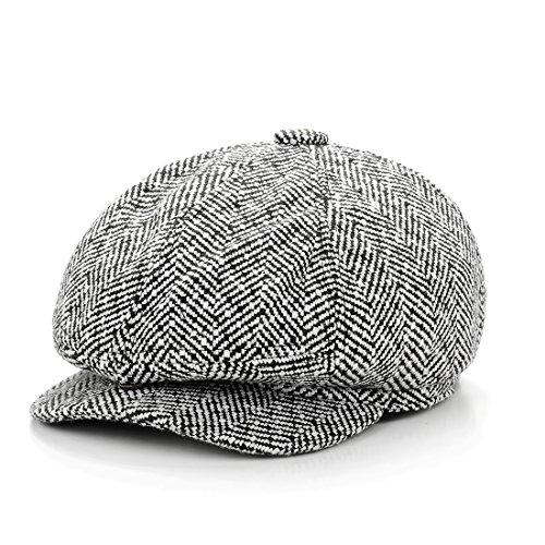 Wool Blend Snap - LeucosTicte Men's Women Classic Herringbone Tweed Wool Blend Newsboy Hat