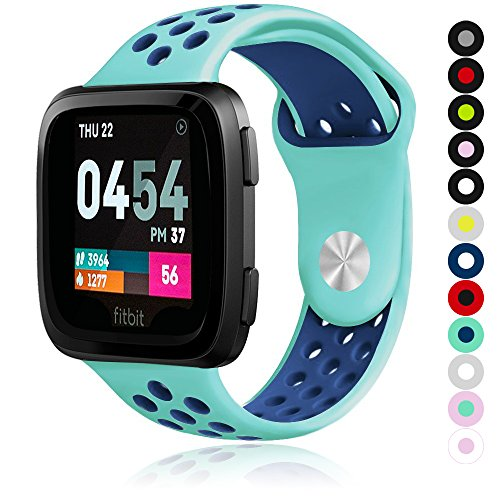 Compatible for Fitbit Versa | Soft Silicone Replacement Sport Band for New Fitbit Versa Smart Watch (Teal/Blue, Large)