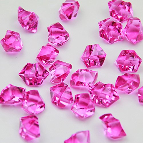 Fuchsia Acrylic Ice Rock Crystals Treasure Gems for Table Scatters, Vase Fillers, Wedding, Banquet, Party, Event, Birthday Decoration (Fuchsia, 150)