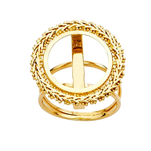 - Ioka - 14K Solid Yellow Gold 2.5 Bola Peso Coin Ring - Size 8