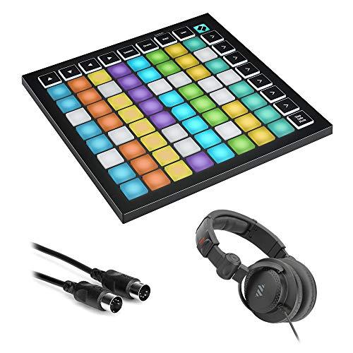 Novation Launchpad Mini MK3 64-Pad MIDI Grid Controller with Polsen HPC-A30-MK2 Studio Monitor Headphones & 10' MIDI Cable Bundle