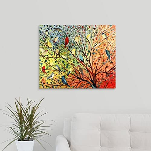 GREATBIGCANVAS Jennifer Lommers Premium Twenty Seven Birds Canvas Wall Art