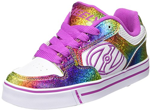 Heelys Kids Motion Plus Skate Shoe Fashion Sneaker -Girls,White/Rainbow/Hot Pink,2 Little -