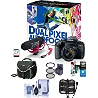 Canon EOS Rebel T7i DSLR Video Creator Kit with EF-S 18-55mm IS Lens, Rode VideoMic Go, 32GB SD Card - Bundle With Camera Case, 58mm Filter Kit, Memory Wallet, Cleaning Kit, Software Package