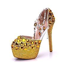 Minishion Womens Glitter High Platform Stiletto Heels Ankle Chains Wedding Evening Pumps Shoes