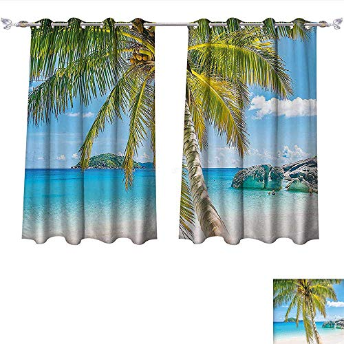 Blackout Curtain Panels Window Draperies Palm Tree Wonders of the World Beach Scene with Rocks and Swimming People Image Turquoise Green Waterproof Window Curtain (W55 x L63 -Inch 2 Panels) ()