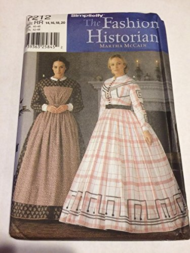 Simplicity Pattern 7212 The Fashion Historian by Martha McCain Civil War Gown, Size RR (14-16-18-20) ()