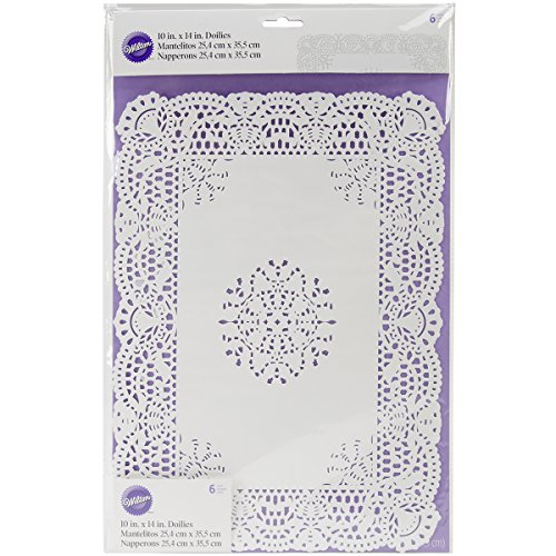 Wilton Greaseproof Doilies, 10 by 14-Inch, White Rectangle, 6-Pack