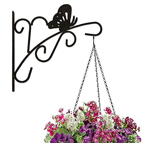 Amagabeli Hanging Plants Bracket 11'' Wall Planter Hook Flower Pot Bird Feeder Wind Chime Lanterns Hanger Outdoor Indoor Patio Lawn Garden for Shelf Shelves Fence Screw Mount against Door Arm Hardware (Brackets Flower Pot)