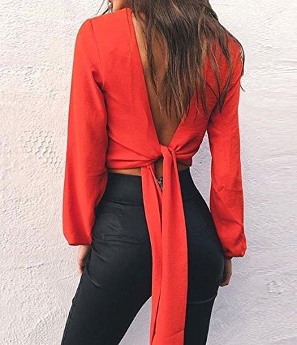 Primavera shirt Cime Corto Scollo Simple V Farfalla Manica Giovane fashion Autunno Donne Camicie Bluse Cravatta Sexy A Lunga Rosso Schienale Maglietta Crop Tops Moda Maglie E T Senza wOXatO