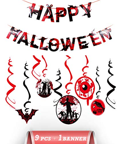 FUNCORA Halloween Swirl Decoration, Happy Halloween Banner and Blood Swirl Hanging Decorations : Blood bat, Vampire, Ghosts Eye Decor for Halloween Party (Red&Black)