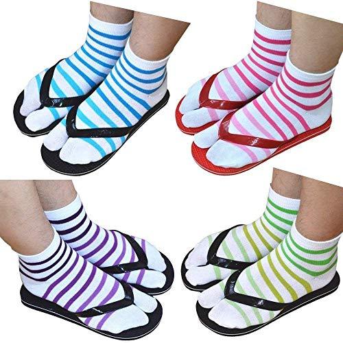 Premium Cotton Toe Socks For Women Stylish Tabi Ankle Socks For Flip Flop Pack of 4 (4 pack) (two toes socks 4 pack)