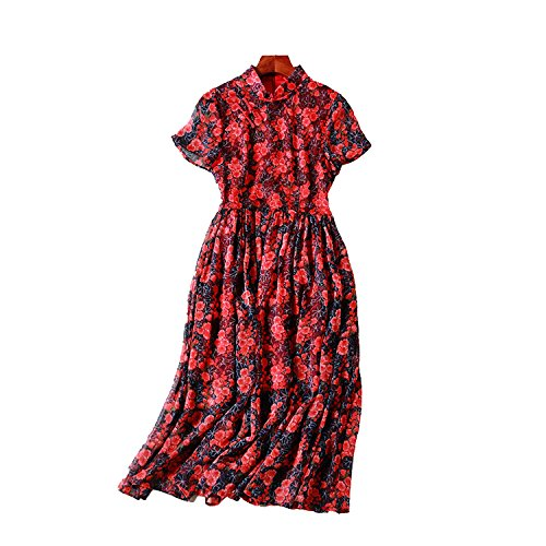 (Letters-from-Iceland Summer New Chinese Style Women's Retro Cheongsam Improved Silk Printed Slim Dress 80130,Red Wine,S)