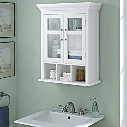 Amazoncom WYNDENHALL Hayes Two Door Bathroom Wall Cabinet With - Wyndenhall hayes white bathroom space saver cabinet