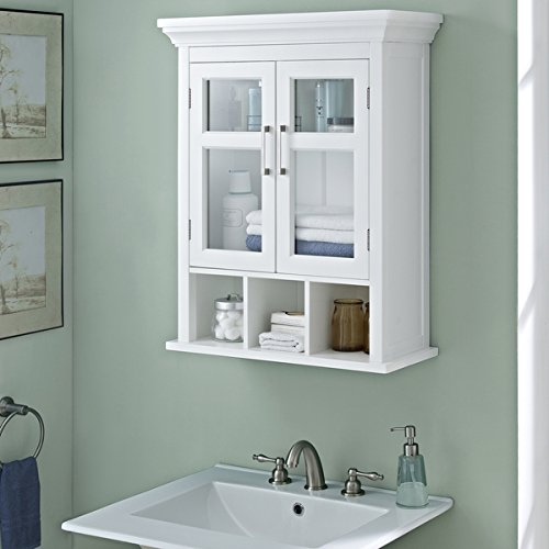 WYNDENHALL Hayes Two Door Bathroom Wall Cabinet with Cubbies in White by Wynden Hall