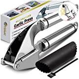 ORBLUE Garlic Press, Stainless Steel Mincer and Crusher with Garlic Rocker and Peeler Set - Professional Grade, Dishwasher safe, Rust-proof