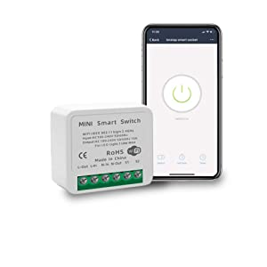 16A Mini Smart WiFi Switch DIY Switch Supports 2 Way Control, Smart Home Automation Module, No Hub Required, Compatible with Alexa Google Home Smart Life App