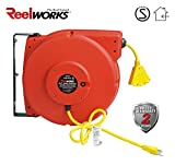 ReelWorks Heavy Duty Extension Cord Reel With Swivel Bracket, 12AWG/3C SJT, Triple Tap, 65 ft.