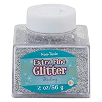 Sulyn Extra Fine Sterling Silver Glitter Stacker Jar, 2 Ounces, Non-Toxic, Stackable and Reusable Jar, Multiple Slot Openings for Easy Dispensing and Mess Reduction