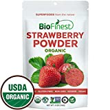 Biofinest Strawberry Juice Powder - 100% Pure Freeze-Dried Antioxidants Superfood - USDA Organic Vegan Raw Non-GMO - Boost Digestion Weight Loss - for Smoothie Beverage Blend (4 oz Resealable Bag)