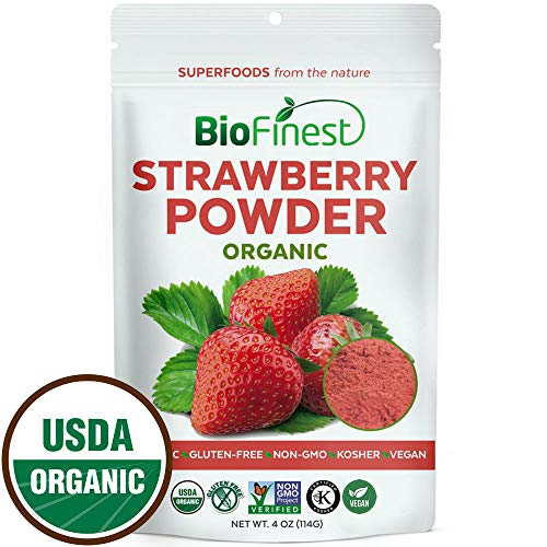 (Biofinest Strawberry Juice Powder - 100% Pure Freeze-Dried Antioxidants Superfood - USDA Organic Vegan Raw Non-GMO - Boost Digestion Weight Loss - for Smoothie Beverage Blend (4 oz Resealable Bag))