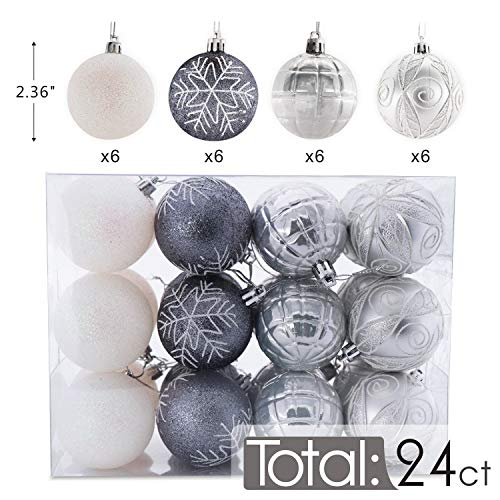 AUXO-FUN 2.36/60mm shatterproof Christmas ball ornaments tree decoration baubles set of 24 counts (silver & white)