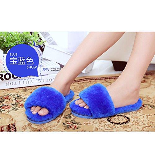 Azul Laxba Calientes De Cálido Invierno Zapatos Suaves Antideslizantes Zapatillas Invierno Royal38 Habitación qSfvxwq6
