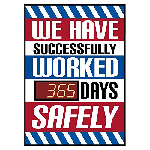 ComplianceSigns PVC Digital Safety Awareness Scoreboard, 28 x 20 with Red LED Counter, White