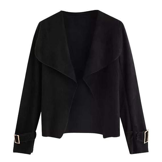 ZODOF Chaqueta de Moda de otoño para Mujer Las Mujeres de Manga Larga Negro Turn Down Cuello Corto Traje sólido Jacket Cardigan Coat: Amazon.es: Ropa y ...