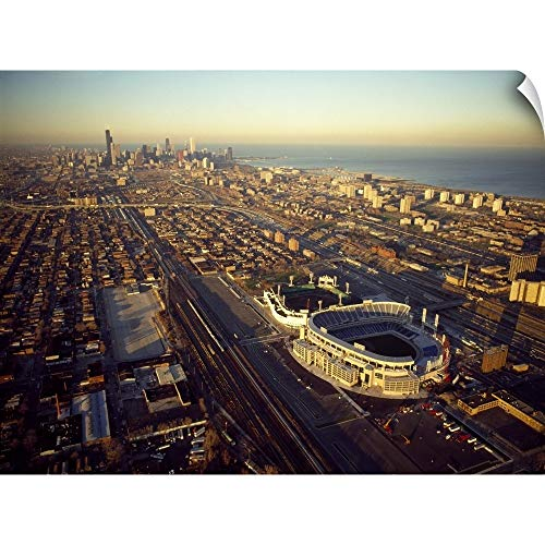 CANVAS ON DEMAND Aerial View of a City, Old Comiskey Park, New Comiskey Park, Chicago, Cook County, Illinois, Wa.
