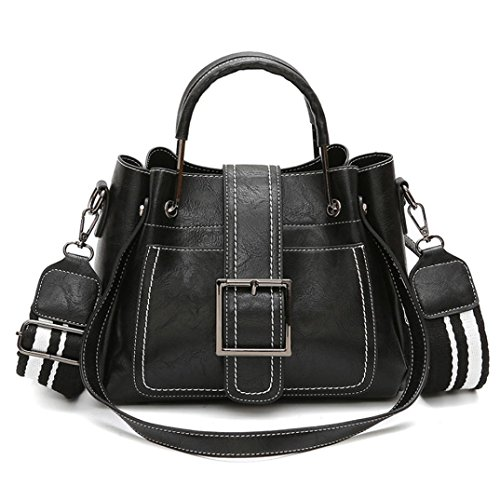 WILLTOO Retro Leather Handbag Satchel Purse Shoulder Tote Messenger Crossbody Bag for Women (Black) by WILLTOO