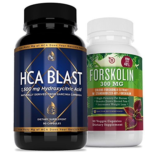 Garcinia HCA Forskolin Bundle Diet Pills Supplement | Powerful Fat Burner and Appetite Suppressant | Best Natural Weight Loss Formulas for Rapid Results | Use as Directed | 100% Refund Guaranteed For Sale