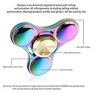 ATESSON New Version Fidget Spinner Toy Durable Stainless Steel Bearing High Speed 3-5 Min Spins Tri-spinner Precision Colorful Metal Hand Spinners Toy with 1 Screwdriver & 1 Extra Bearing by SpinnerToy