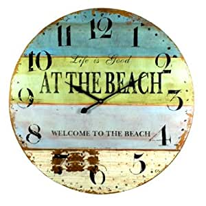life is good at the beach coastal decor extra large wall clock 23 in kitchen dining. Black Bedroom Furniture Sets. Home Design Ideas