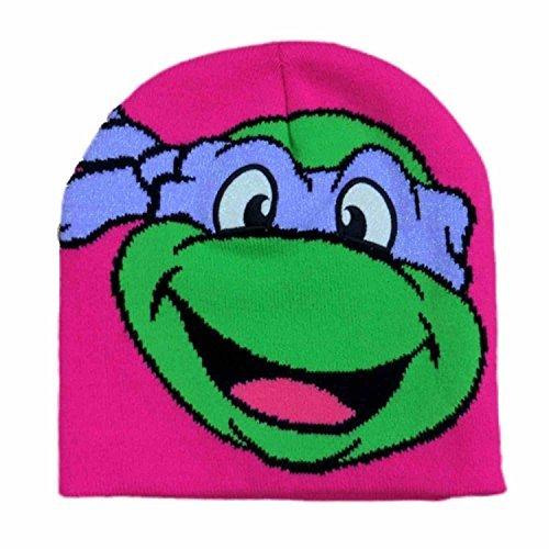 Teenage Mutant Ninja Turtles Girls Pink Donatello Beanie Stocking Cap Winter Hat (Tmnt Hat Winter)