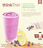 thinkThin High Protein Smoothie Mix, Blueberry Banana, 4 Count