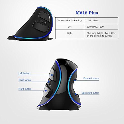 KKmoon Delux M618Plus Souris optique à lumière bleue, avec câble, 600 / 1000 / 1600DPI, 3niveaux, souris ergonomique avec 6boutons pour PC de bureau