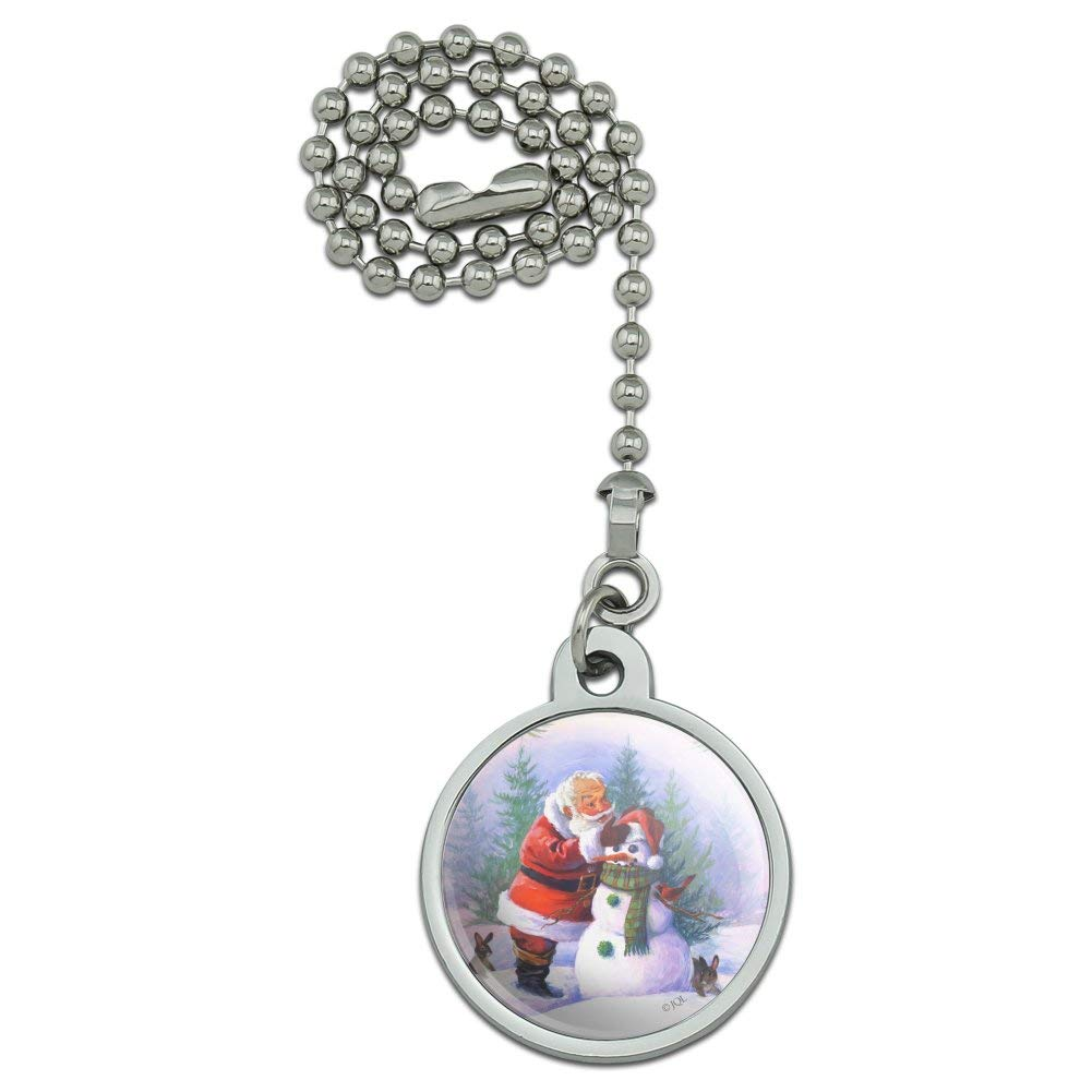 GRAPHICS /& MORE Christmas Holiday Santa Making Building Snowman Ceiling Fan and Light Pull Chain