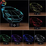 3D Optical Illusion Night Light - 7 LED Color Changing Lamp - Cool Soft Light Safe For Kids - Solution For Nightmares - Lamborghini Car